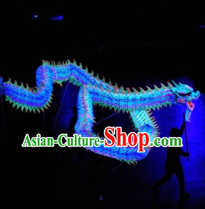 Blue Color Supreme Competition Fluorescent Dragon Dancing Costumes Complete Set