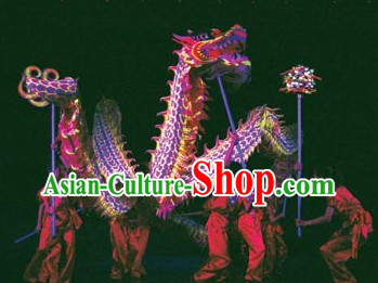 Purple Color Supreme Competition Fluorescent Dragon Dance Costumes Complete Set