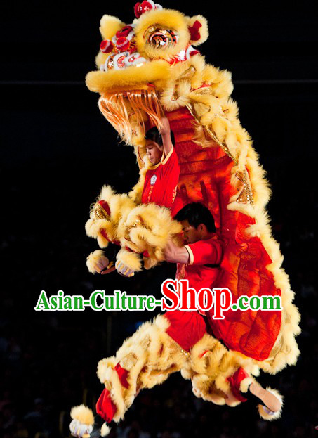 World Lion Dance Competition Red Fur Hoksan Lion Head Adult Size Costumes Complete Set