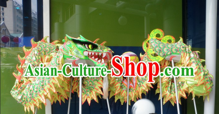 Green Chinese Lunar New Year Dragon Dance Equipments Complete Set