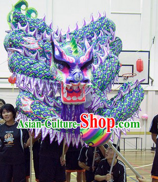 Kung Fu Association Chinese Authentic Dragon Dance Head and Costume Complete Set