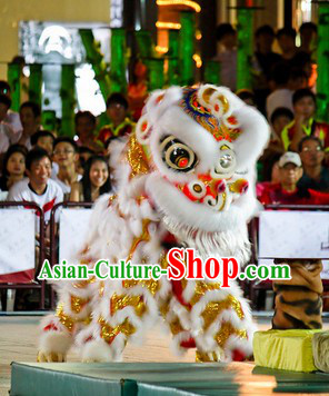 White Fur Opening and Celebration Lion Dance Costume Complete Set