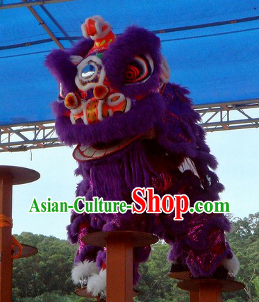 Supreme Purple Fur Competition and Celebration Lion Dance Costumes Complete Set