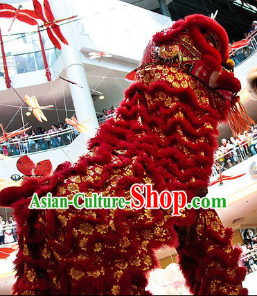 Chinese Year Southern Style Golden Flower Lion Dance Costumes Complete Set