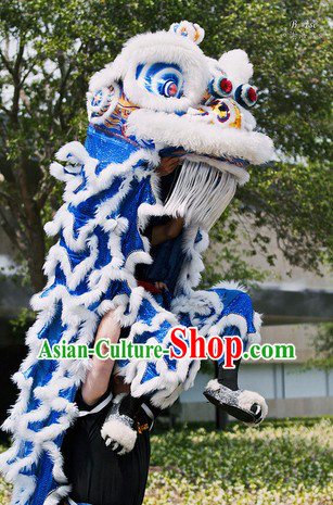 White and Blue Competition and Parade Adults Lion Dance Costume Complete Set