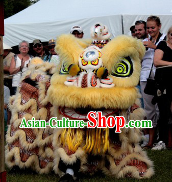 Business Ceremony Opening Southern Hoksan Lion Dance Head and Costume Complete Set