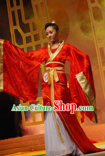 Ancient Chinese Red Hanfu Beauty Contest Costumes for Women