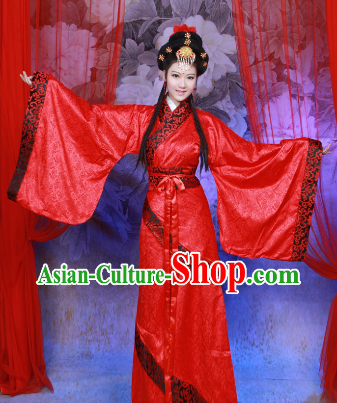 Ancient Chinese Red Hanfu Clothing Complete Set for Women