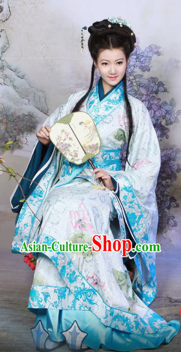 Ancient Chinese Blue Hanfu Clothing for Women