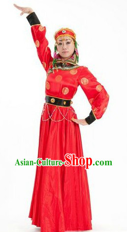 Chinese Classic Mongolian Ethnic Dance Costumes and Hat for Women