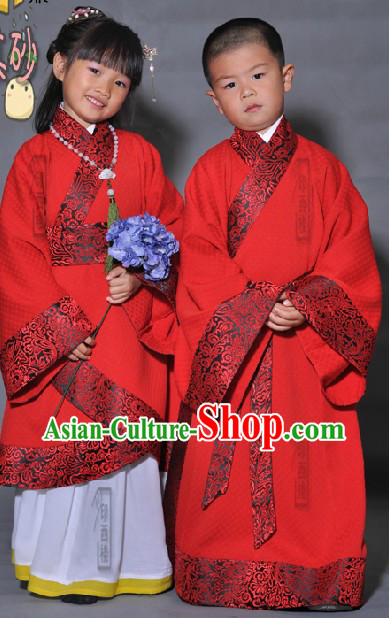 Ancient Chinese Red Hanfu Clothing Complete Set for Boy or Girl