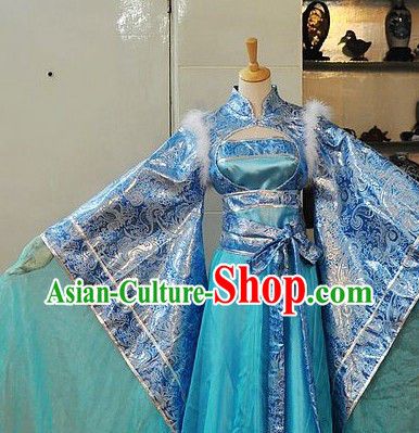 Ancient Chinese Blue Princess Costume for Ladies
