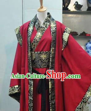 Ancient Chinese Red Bridegroom Wedding Dress Set for Men