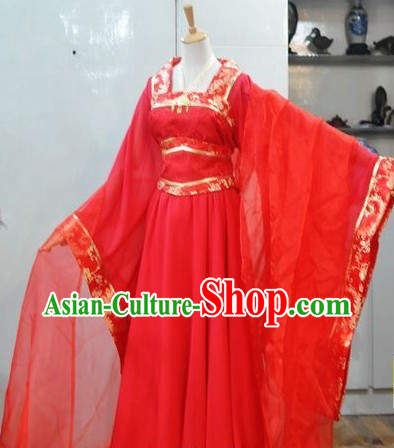 Ancient Chinese Classic Red Wedding Dress for Women