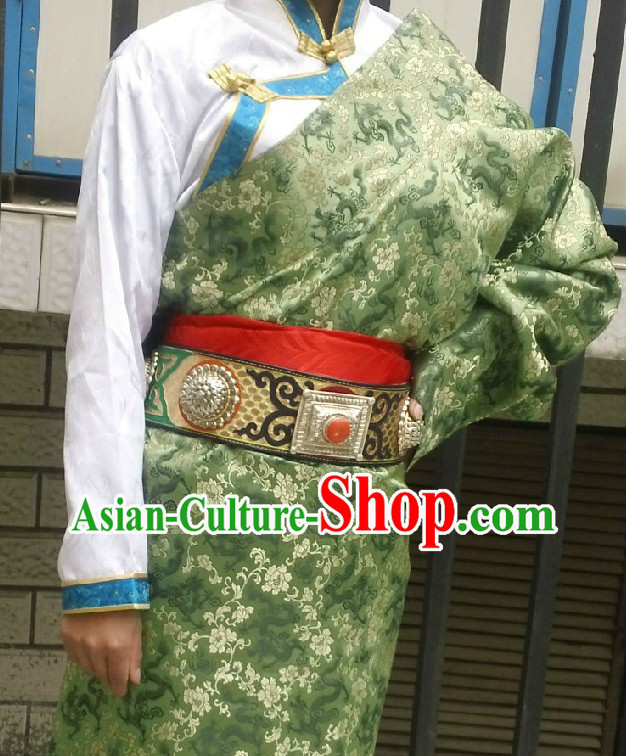 Traditional Chinese Green Tibetan Robe for Brides