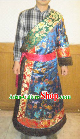 Traditional Chinese Blue Tibetan Robe Clothing Set for Men or Women