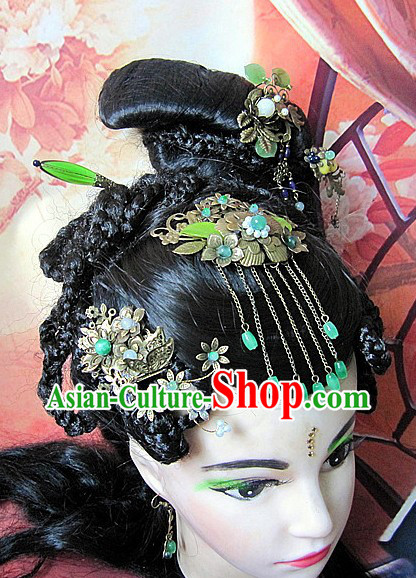 Ancient Chinese Green Metal Hair Clips Six Pieces Set