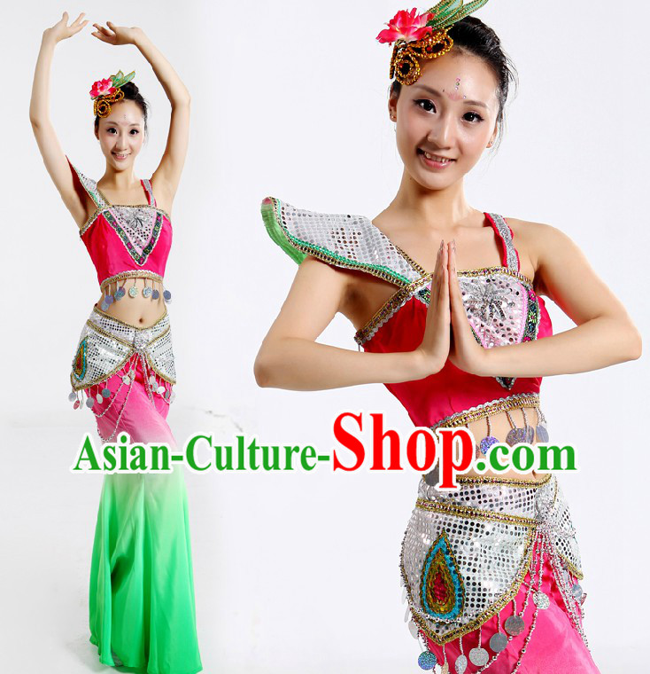 Dai Nationality Dance Costumes and Headpiece for Women
