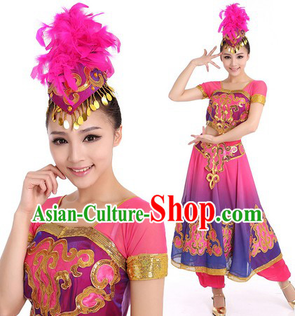 Purple Indian Dance Costumes and Hat for Women