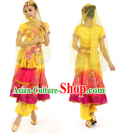 Yellow Indian Dance Costumes and Hat for Women