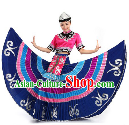 Purple Chinese Yi Minority Costume and Hat for Women