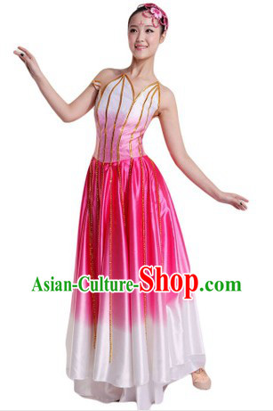 Traditional Chinese Pink Lotus Dance Costumes for Ladies