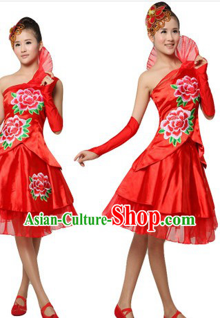 Chinese Red Peony Dance Costumes and Headpiece for Women
