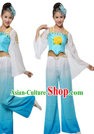 Chinese Blue Yangge Dance Costumes and Headpiece for Women