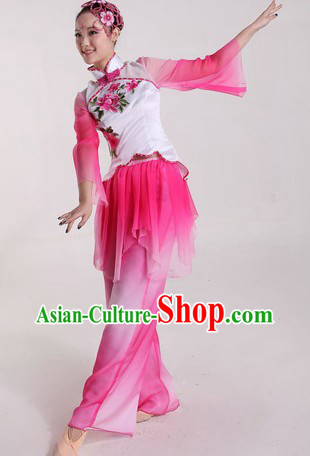 Chinese Stage Performance Flower Dance Costumes and Headpiece for Ladies