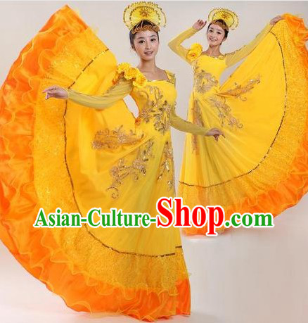 Chinese Classic Yellow Dance Costumes and Headpiece for Women