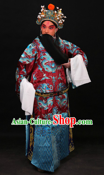 Chinese Beijing Opera Lao Sheng Embroidered Dragon Robe and Helmet for Men