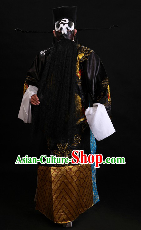Ancient Chinese Bao Gong Law Judge Costume and Hat for Men