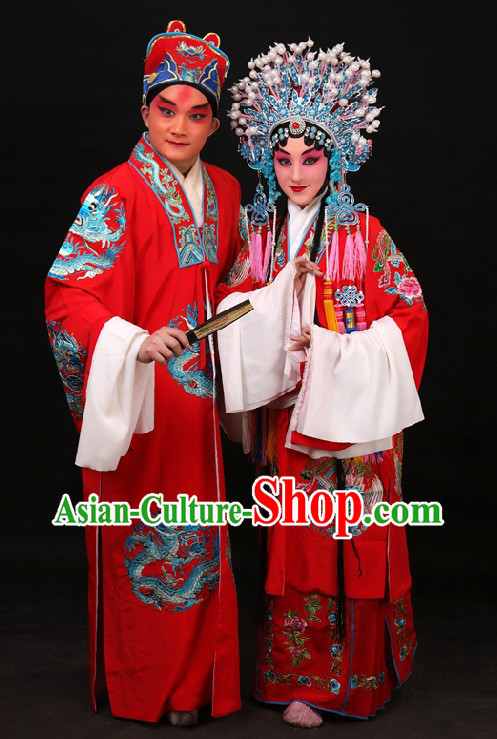 Red Traditional Chinese Embroidered Wedding Dresses Two Sets for Men and Women