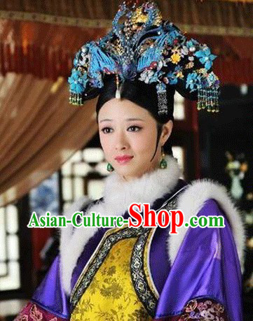 Purple Qing Dynasty Imperial Empress Winter Clothing Complete Set for Women