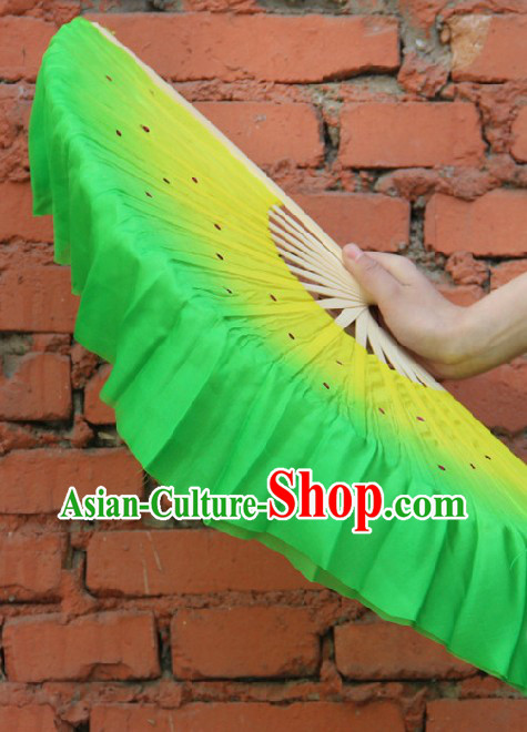 Handmade Yellow to Green Color Transition Pure Silk Dance Fan