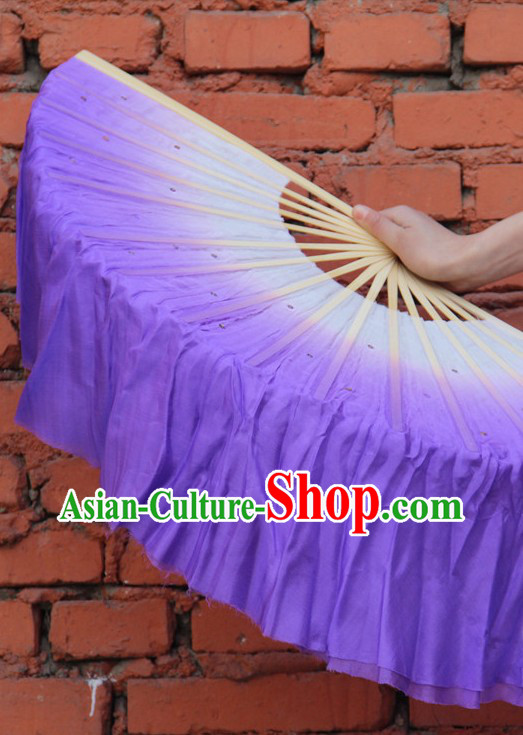 Double Sides White to Purple Color Transition Silk Dance Fan