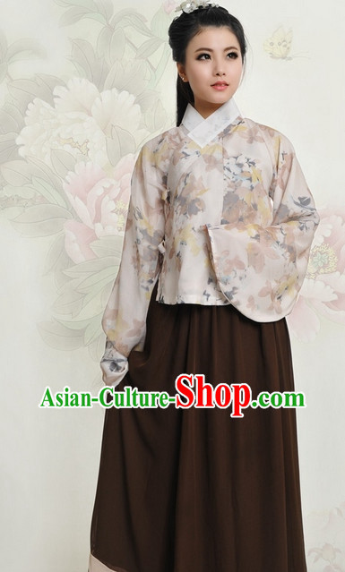 Ancient China Ming Dynasty Summer Clothing Complete Set for Women