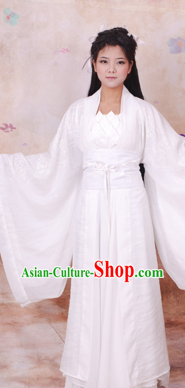 Ancient Chinese White Xiao Long Nv Dragon Lady Costumes