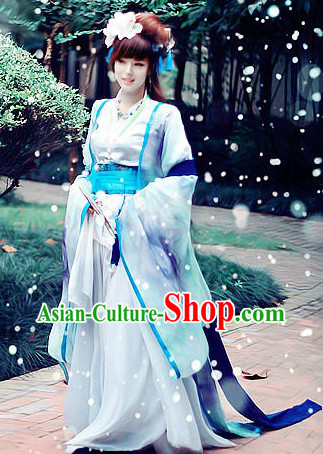 Ancient Chinese White and Blue Beauty Cosplay Costumes