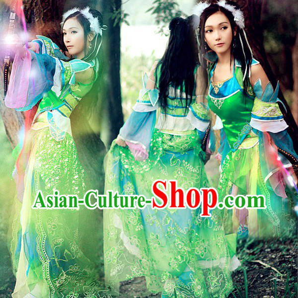 Ancient Chinese Green Fairy Costumes for Women