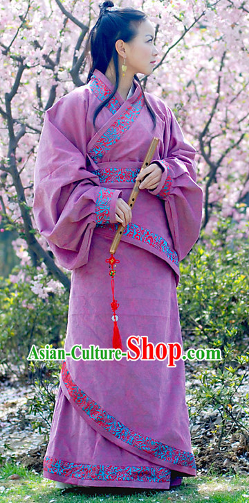 Ancient Chinese Han Dynasty Purple Dresses for Women