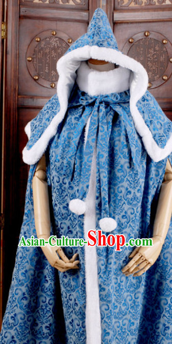 Traditional Chinese Blue Hanfu Cape for Women