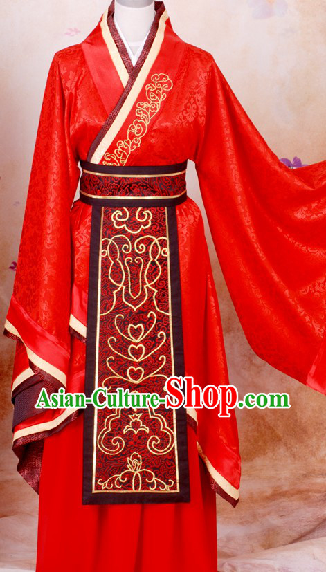 Traditional Chinese Red Wedding Dress for Bridegrooms