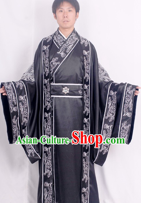 Traditional Chinese Han Dynasty Embroidered Dragon Clothing Complete Set for Men