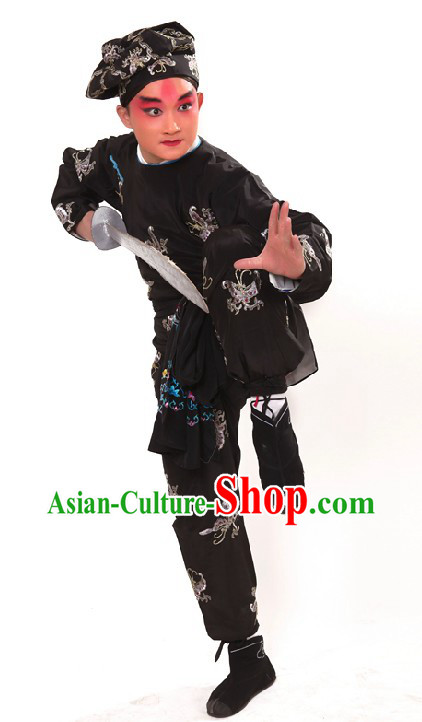 Peking Opera Black Embroidered Butterfly Costumes and Hat for Men