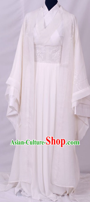 Ancient Chinese White Fairy Costumes Complete Set for Women