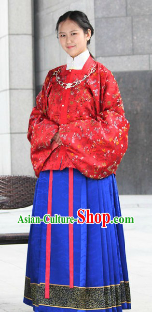 Traditional Chinese Ming Dynasty Red Jacket and Blue Skirt for Women