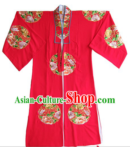 Traditional Chinese Embroidered Flower Wedding Dress for Bridegrooms