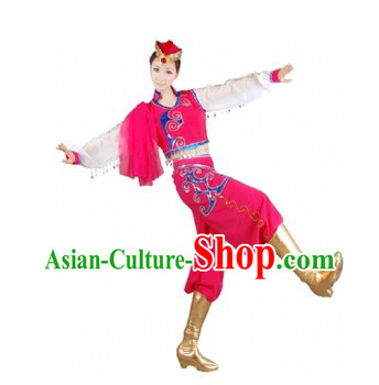 Traditional Chinese Mongolian Minority Dance Costumes and Hat for Women