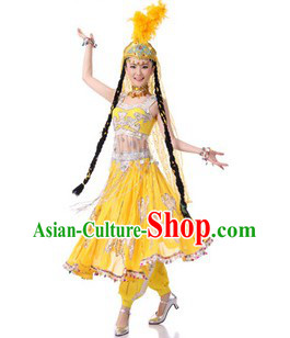 Traditional Chinese Hsinchiang Dance Costumes and Hat for Women